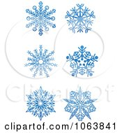 Clipart Snowflakes In Blue Digital Collage 3 Royalty Free Vector Illustration