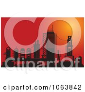 Clipart Factory At Sunset Royalty Free Vector Illustration