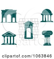 Clipart Architectural Elements Digital Collage Royalty Free Vector Illustration