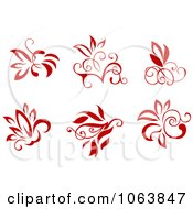 Clipart Red Flourishes Digital Collage 1 Royalty Free Vector Illustration