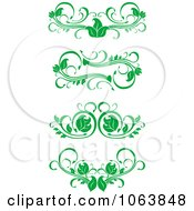 Clipart Green Flourish Borders Digital Collage 1 Royalty Free Vector Illustration