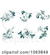 Clipart Teal Flourishes Digital Collage 1 Royalty Free Vector Illustration