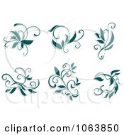 Clipart Teal Flourishes Digital Collage 3 Royalty Free Vector Illustration