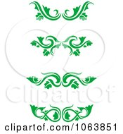 Clipart Green Flourish Borders Digital Collage 2 Royalty Free Vector Illustration