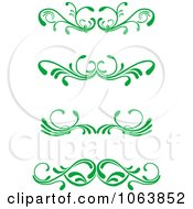 Clipart Green Flourish Borders Digital Collage 6 Royalty Free Vector Illustration