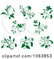 Clipart Green Flourishes Digital Collage Royalty Free Vector Illustration