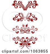 Clipart Red Flourish Borders Digital Collage 2 Royalty Free Vector Illustration