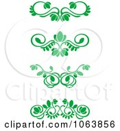 Clipart Green Flourish Borders Digital Collage 4 Royalty Free Vector Illustration