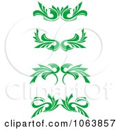 Clipart Green Flourish Borders Digital Collage 5 Royalty Free Vector Illustration