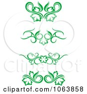 Clipart Green Flourish Borders Digital Collage 3 Royalty Free Vector Illustration