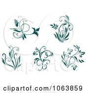 Clipart Teal Flourishes Digital Collage 4 Royalty Free Vector Illustration