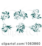 Clipart Teal Flourishes Digital Collage 5 Royalty Free Vector Illustration