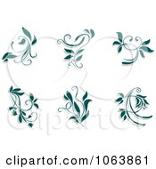 Clipart Teal Flourishes Digital Collage 2 Royalty Free Vector Illustration