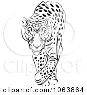 Clipart Walking Jaguar Black And White Royalty Free Vector Illustration