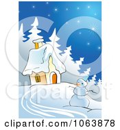 Clipart Snowman And Winter House Royalty Free Vector Illustration