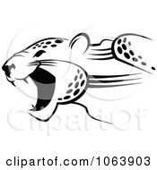 Clipart Black And White Jaguar Attacking Royalty Free Vector Illustration