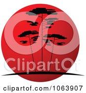Clipart Acacia Trees At Sunset Logo 2 Royalty Free Vector Illustration