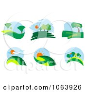 Clipart Landscapes Digital Collage Royalty Free Vector Illustration