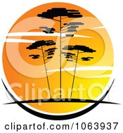 Clipart Acacia Trees At Sunset Logo 3 Royalty Free Vector Illustration