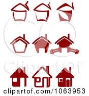Clipart Maroon Houses Digital Collage Royalty Free Vector Illustration