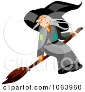 Clipart Witch On A Broomstick Royalty Free Vector Illustration