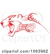 Clipart Red Jaguar Attacking Royalty Free Vector Illustration