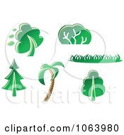 Clipart Trees Digital Collage 1 Royalty Free Vector Illustration by Vector Tradition SM