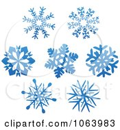 Clipart Snowflakes In Blue Digital Collage 1 Royalty Free Vector Illustration