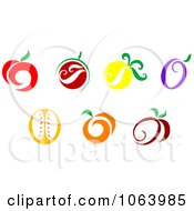 Clipart Fruit Icons Digital Collage Royalty Free Vector Illustration