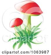 Clipart Mushrooms In Grass Royalty Free Vector Illustration