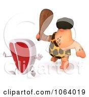 Clipart 3d Caveman Chasing A Steak Character 2 Royalty Free CGI Illustration
