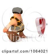 Clipart 3d Caveman Chasing A Steak Character 1 Royalty Free CGI Illustration