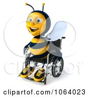 Clipart 3d Jolly Disabled Bee In A Wheelchair 2 Royalty Free CGI Illustration