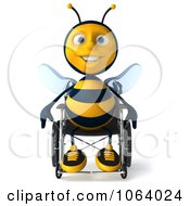 Clipart 3d Happy Disabled Bee In A Wheelchair Royalty Free CGI Illustration