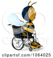 Clipart 3d Jolly Disabled Bee In A Wheelchair 1 Royalty Free CGI Illustration