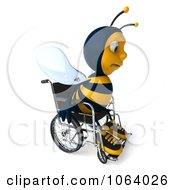 Clipart 3d Sad Disabled Bee In A Wheelchair 2 Royalty Free CGI Illustration