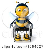 Clipart 3d Sad Disabled Bee In A Wheelchair 1 Royalty Free CGI Illustration