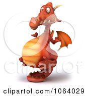Clipart 3d Red Zen Dragon Royalty Free CGI Illustration