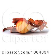Clipart 3d Red Dragon Reclined Royalty Free CGI Illustration