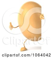 Clipart 3d Thumbs Up Egg Character Looking Around A Sign Royalty Free CGI Illustration