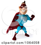 Clipart 3d Super Dude Punching 1 Royalty Free CGI Illustration by Julos
