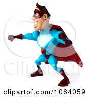 Clipart 3d Super Dude Punching 2 Royalty Free CGI Illustration by Julos