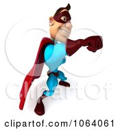 Clipart 3d Super Dude Punching 4 Royalty Free CGI Illustration by Julos