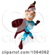 Clipart 3d Super Dude Punching 3 Royalty Free CGI Illustration by Julos