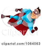 Clipart 3d Super Dude Kicking 2 Royalty Free CGI Illustration