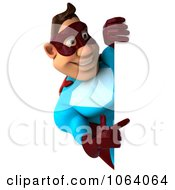 Clipart 3d Super Dude Pointing At A Blank Sign Royalty Free CGI Illustration by Julos