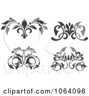 Clipart Flourishes In Black In White Digital Collage 3 Royalty Free Vector Illustration