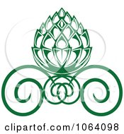 Clipart Green Floral Design 1 Royalty Free Vector Illustration