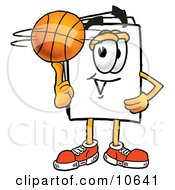 Clipart Picture Of A Paper Mascot Cartoon Character Spinning A Basketball On His Finger