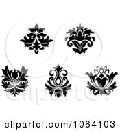 Clipart Flourishes In Black In White Digital Collage 1 Royalty Free Vector Illustration